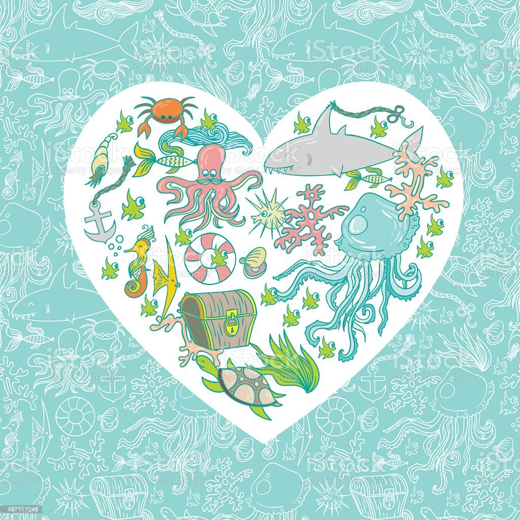 Sea life heart royalty-free sea life heart stock vector art & more images of animal