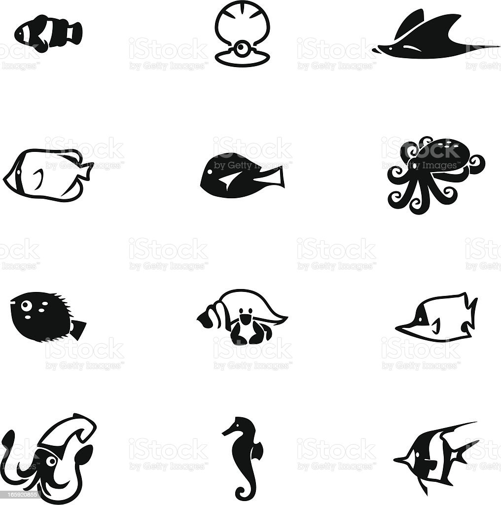 Sea Life Icon Set royalty-free stock vector art