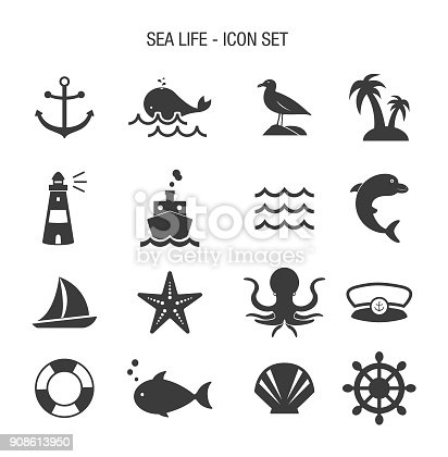 Vector of Sea Life Icon Set