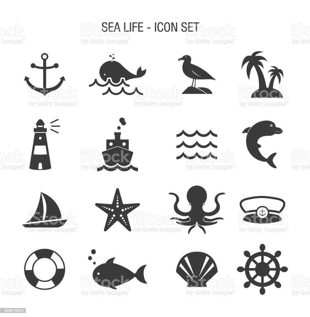 Sea Life Icon Set vector art illustration