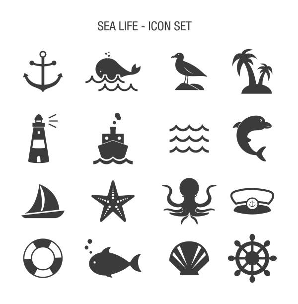 Sea Life Icon Set Vector of Sea Life Icon Set water bird stock illustrations