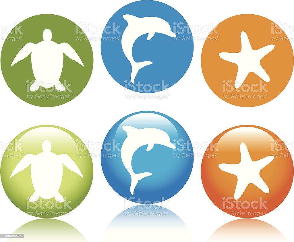 Sea Life Icons royalty-free stock vector art