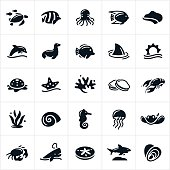 An icon set of different forms of sea life. The icons include a sea turtle, tropical fish, octopus, ocean, reef, coastline, dolphin, seal, shark, star fish, coral, clams, lobster, sea weed, snail, sea horse, jelly fish, sting ray, crab, whale, sand dollar and oysters to name a few.