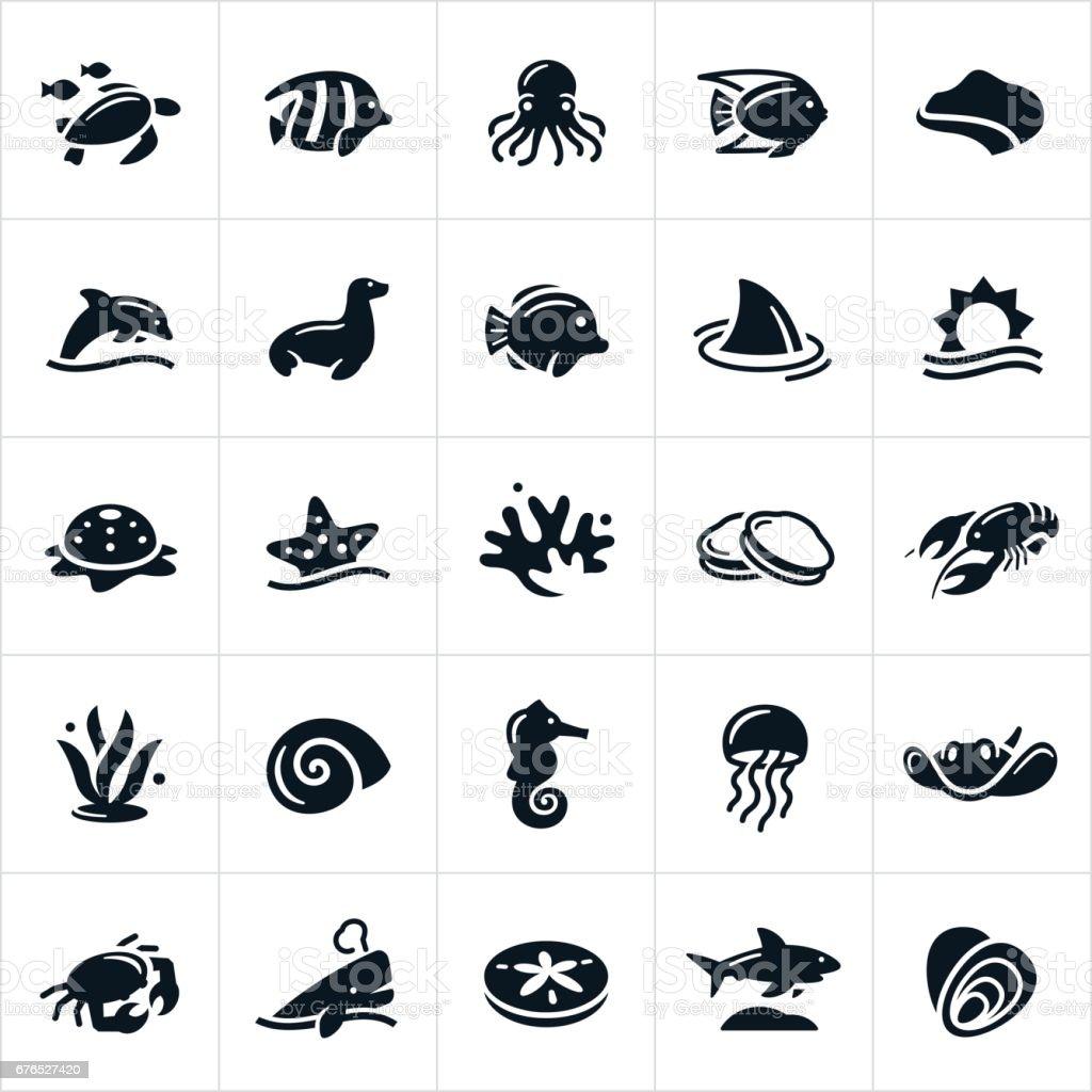 Iconos de la vida marina - ilustración de arte vectorial