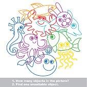 Sea life mishmash colorful set in vector