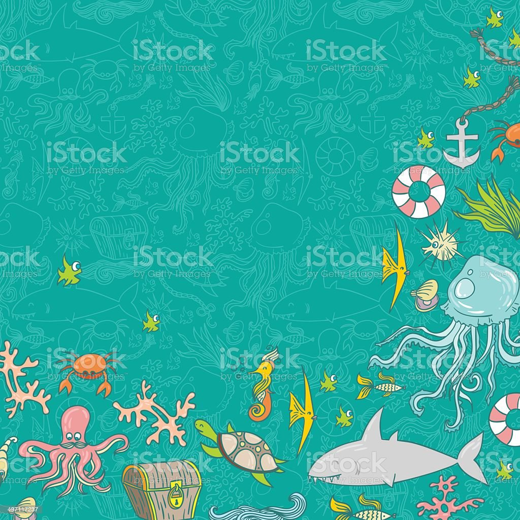 Sea life pattern background royalty-free sea life pattern background stock vector art & more images of animal
