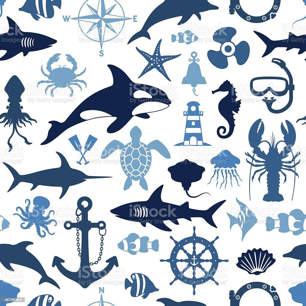 Sea Life Pattern vector art illustration