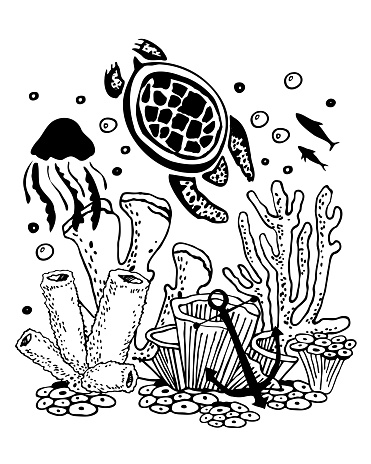 Sea life scene. Turtle, jellyfish, corals. Hand drawn outline vector sketch illustration. Black on white background