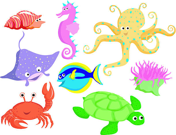 Sea life set 2 vector art illustration