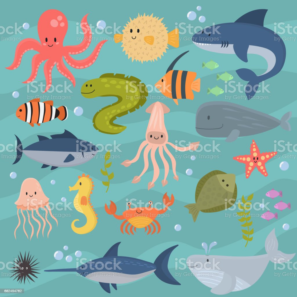 sea life underwater cartoon animals cute marine characters fish