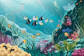Underwater landscape with various water plants and swimming tropical fishes. All objects are grouped. EPS8.