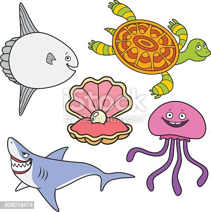 coloring book. moon fish, sharks, jellyfish,turtle and seashell