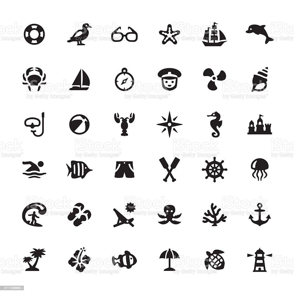 Meer Leben Vektor Symbole Und Symbole Stock Vektor Art und mehr ...