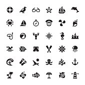 Sea Life related symbols and icons.