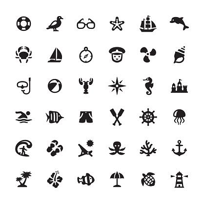 Sea Life vector symbols and icons