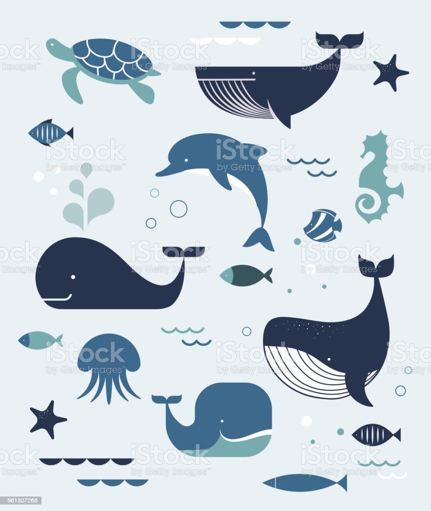 Ilustración de Vida De Mar Ballenas Delfines Iconos Y Las ...
