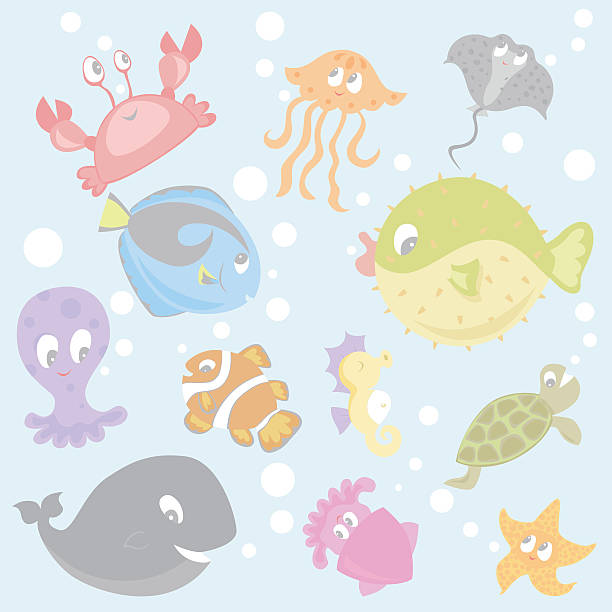 sea life with bubbles vector art illustration