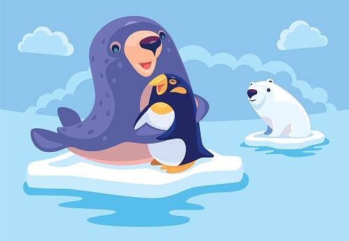 sea lion hugging penguin