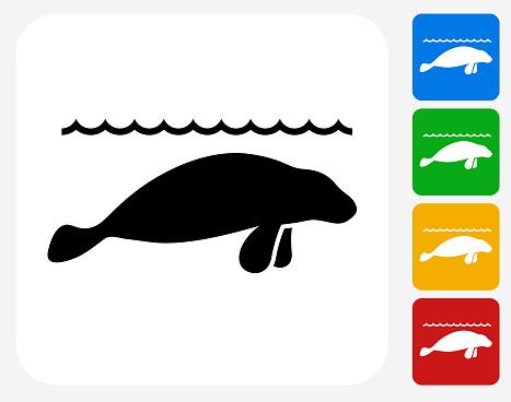Sea Lions Icon Flat Graphic Design