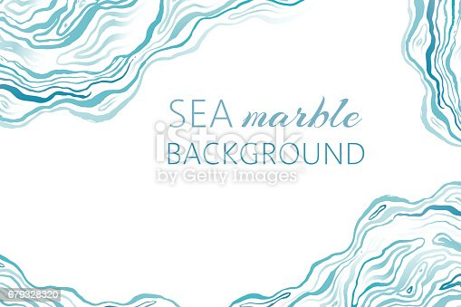 Sea marble background with ink grunge waves. Marine hand drawn textured banner.