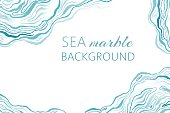 Sea marble background with ink grunge waves.
