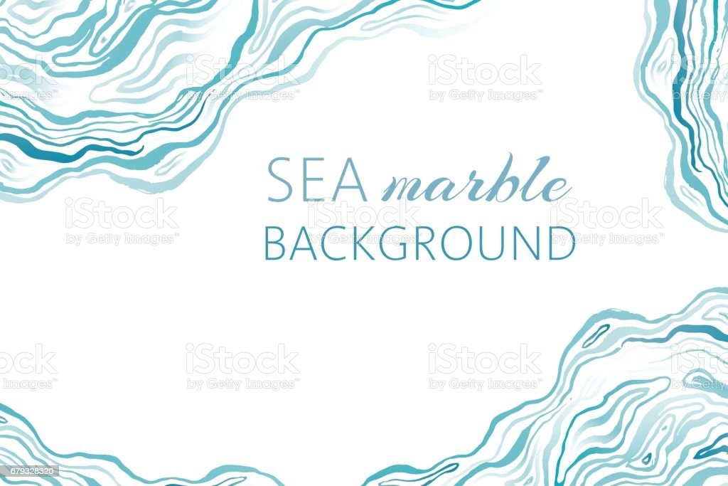 Sea marble background with ink grunge waves. vector art illustration