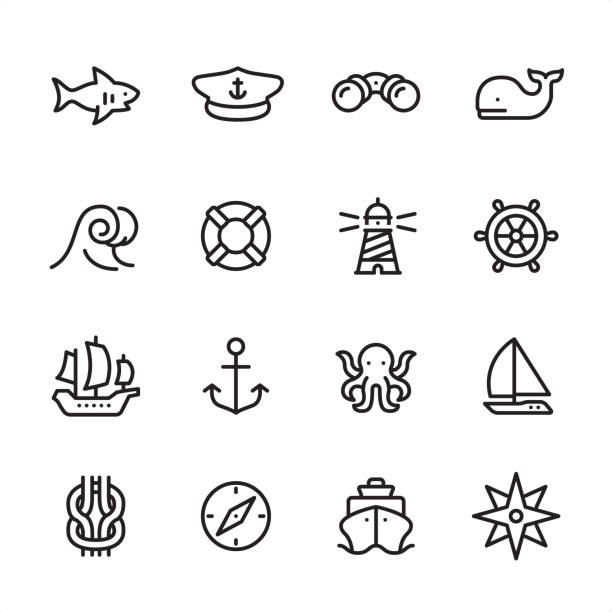 Sea & Marine - outline icon set 16 line black on white icons / Set #56 Pixel Perfect Principle - all the icons are designed in 48x48pх square, outline stroke 2px.  First row of outline icons contains:  Shark icon, Boat Captain Hat, Binoculars, Whale;  Second row contains:  Wave, Buoy, Lighthouse, Rudder;  Third row contains:  Sailing Ship, Anchor-Vessel Part, Octopus, Yacht;   Fourth row contains:  Reef Knot, Navigational Compass, Cruise Ship, Compass Rose.  Complete Inlinico collection - https://www.istockphoto.com/collaboration/boards/2MS6Qck-_UuiVTh288h3fQ sailboat stock illustrations