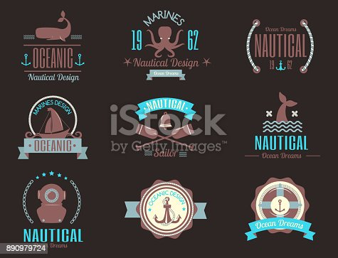 istock Sea marine vector nautical icon icons sailing themed label or with ship ribbons travel element graphic badges illustration 890979724