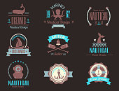 Fashion nautical icon sailing themed label or icon with ship sign ribbons travel element graphic badges vector illustration. Style cruise business insignia template.