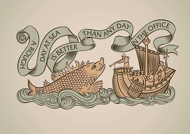 illustrations, cliparts, dessins animés et icônes de monstre marin design - tatouages marins
