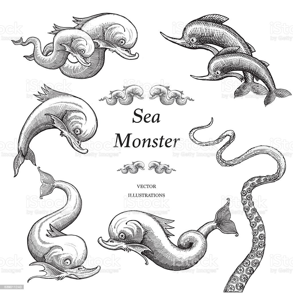 Sea Monster Illustrations in a Vintage Style vector art illustration