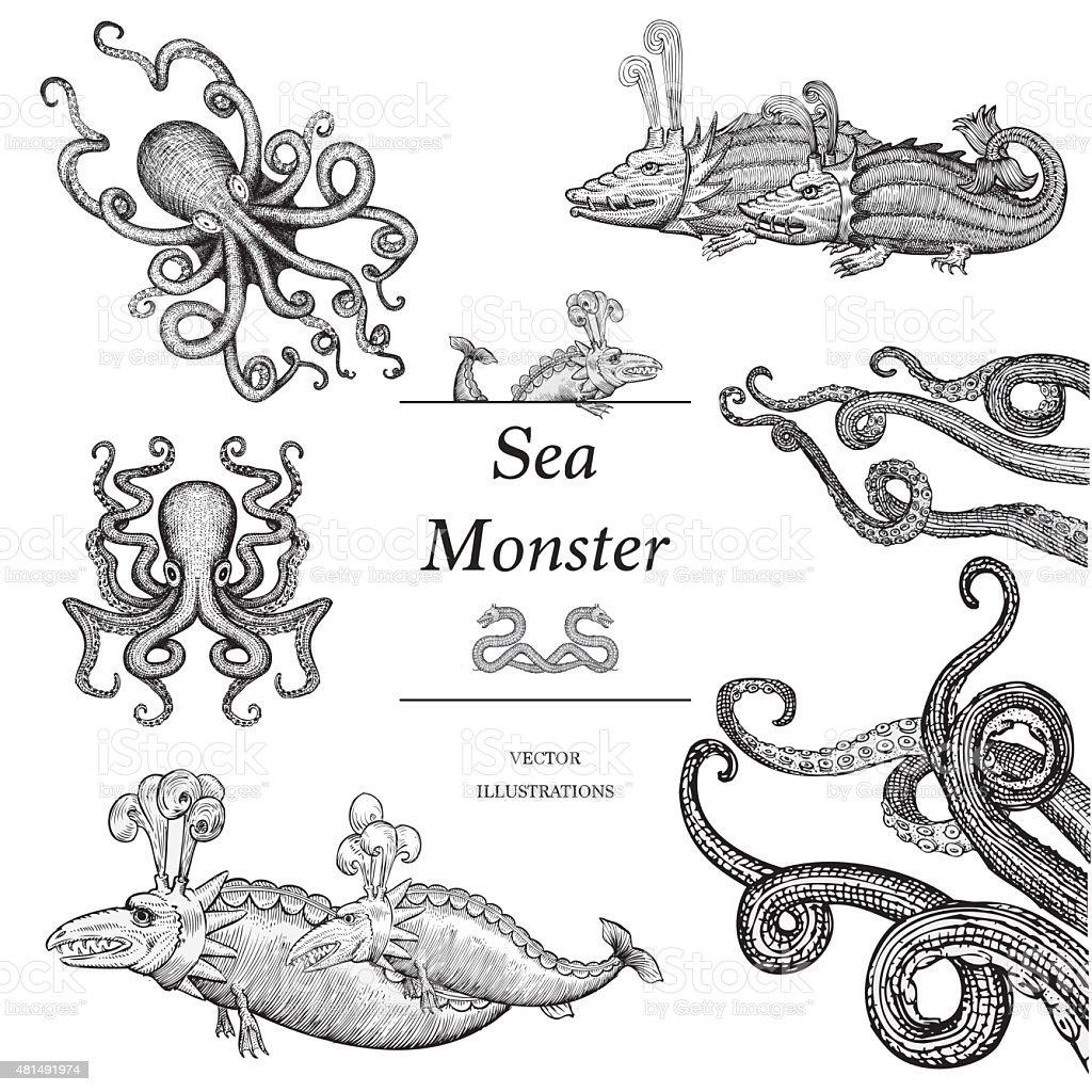 Sea Monster Illustrations vector art illustration