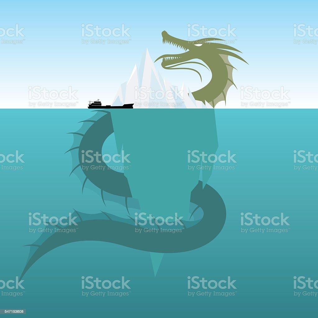 Sea Monsters - Giant  Sea Serpent vector art illustration