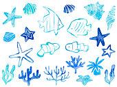 Sea motifs watercolor style illustration set (tropical fish, coral, shellfish, starfish)