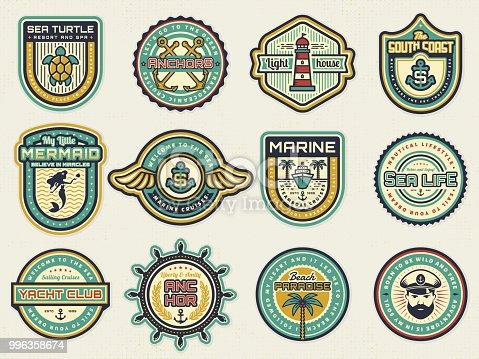 Retro nautical emblem set with anchors, steering wheel, lighthouse. Cruise, yachting, travel, sea life, beach resort themes.