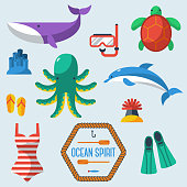 Sea objects collection.