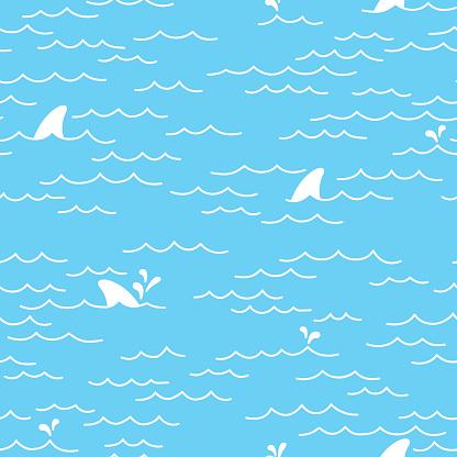 Sea Ocean Shark doodle Seamless pattern