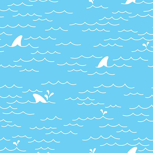 sea ocean shark doodle seamless pattern - 오리발 stock illustrations