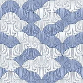 Sea - ocean wave, asian seamless pattern, abstract ornament, japan - china background. Vector illustration - Vector