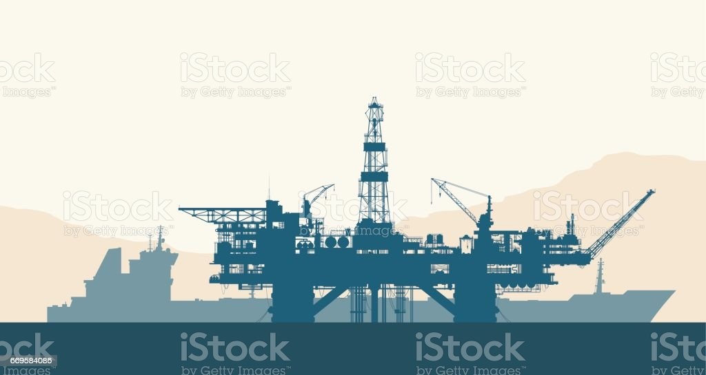 Sea oil drilling rig and tanker vector art illustration