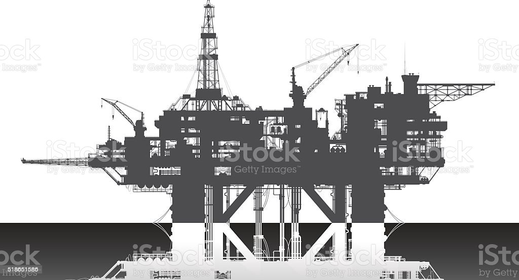 Sea oil rig. Oil platform in the deep sea. vector art illustration