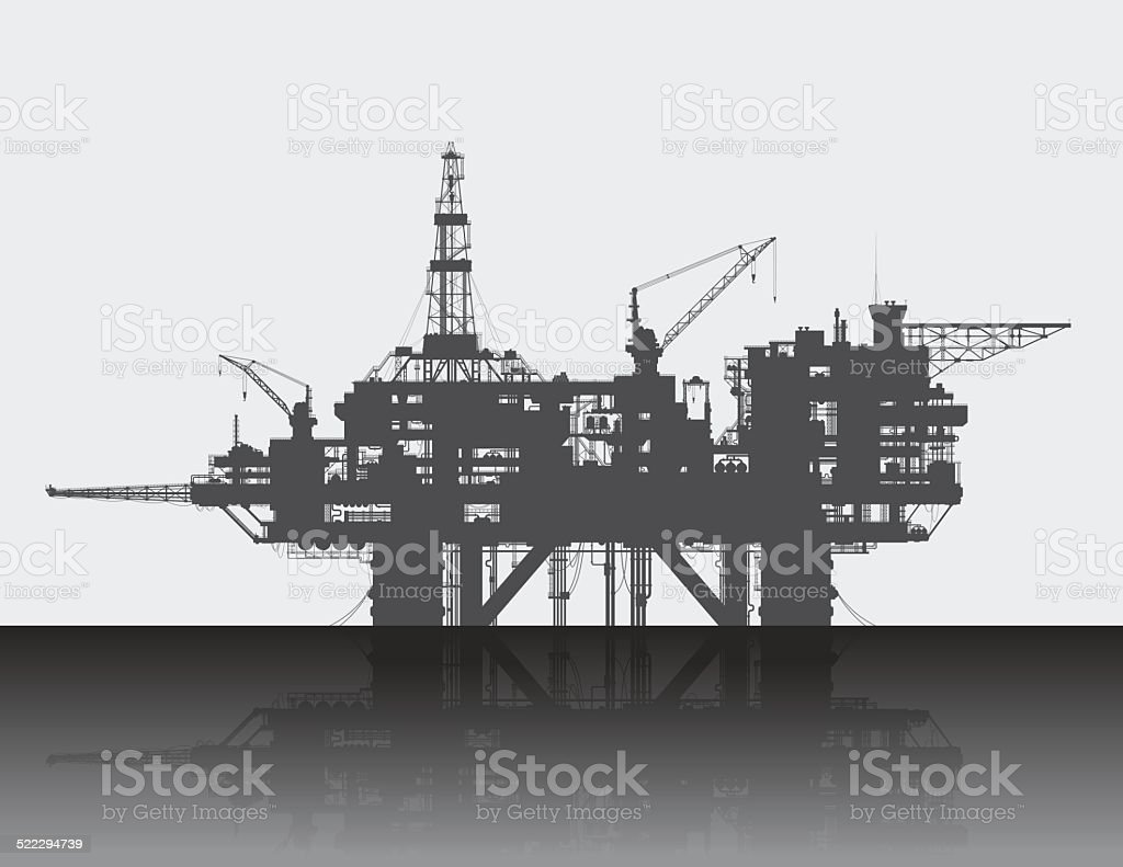 Sea oil rig. Oil platform in the deep sea vector art illustration