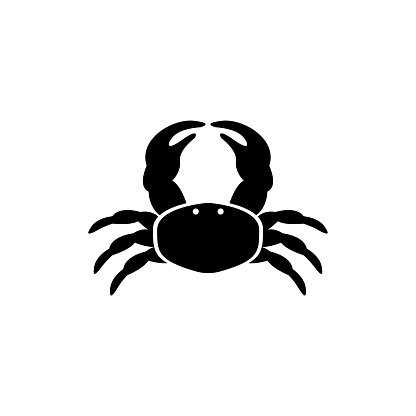 Sea or Ocean Crab, Marine Exotic Seafood. Flat Vector Icon illustration. Simple black symbol on white background. Sea or Ocean Crab, Marine Seafood sign design template for web and mobile UI element.