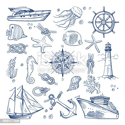 Sea or ocean underwater life with different animals and marine objects. Vector pictures in hand drawn style. Marine life sketch, nature animal fish illustration