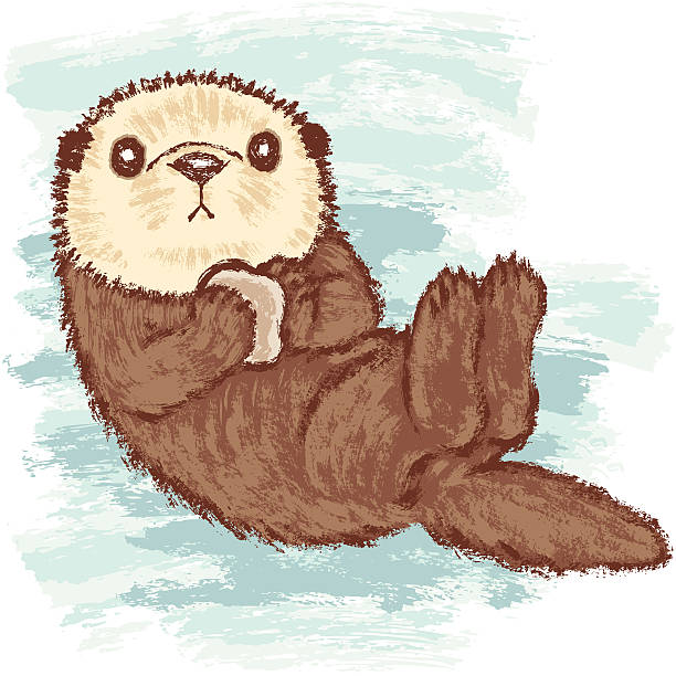 sea otter - otter stock illustrations, clip art, cartoons, & icons