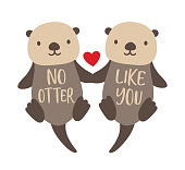 Vector illustration of two cute sea otters couple floating and holding hands.