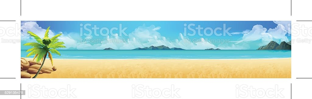 Sea panorama. Tropical beach vector art illustration