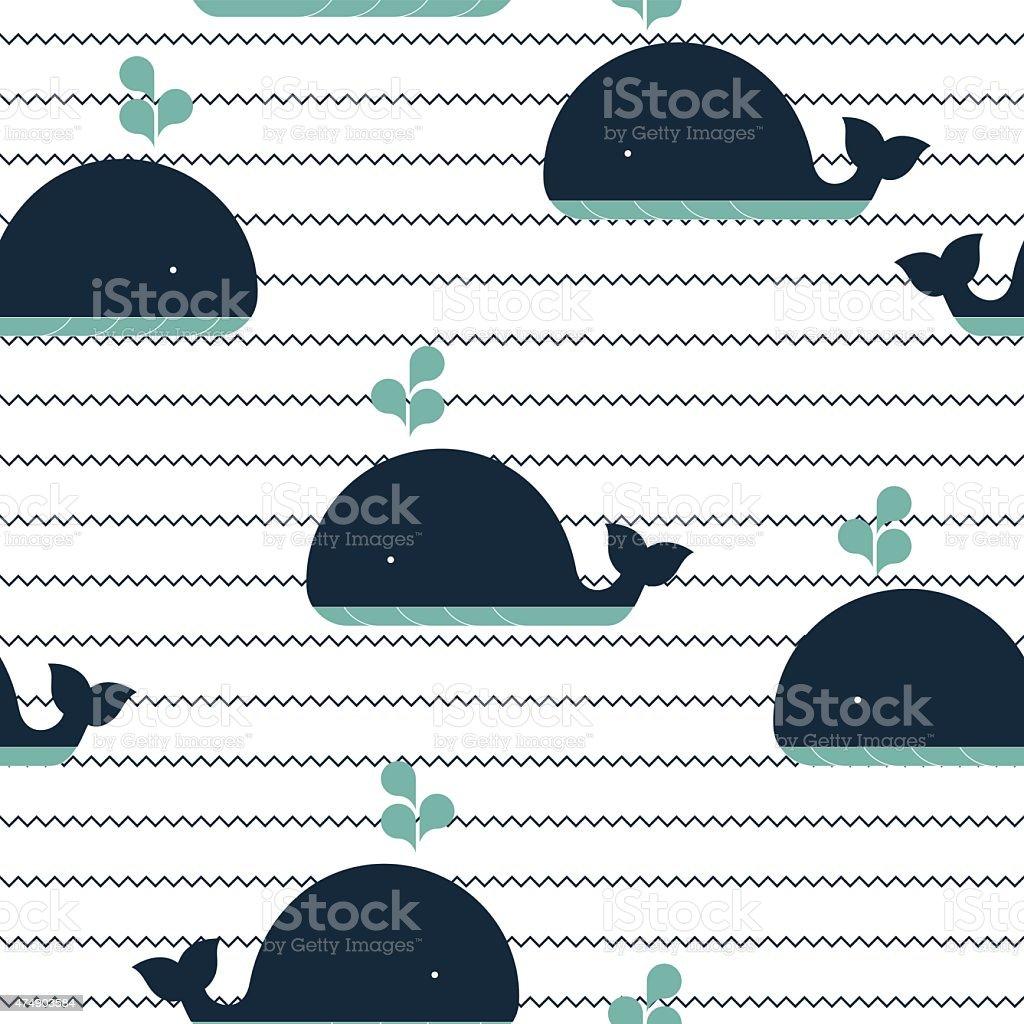 sea Muster mit Wellen und Walbeobachtung – Vektorgrafik