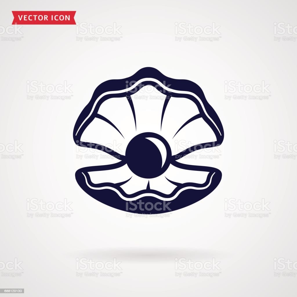 Sea pearl in the shell. Vector icon. vector art illustration