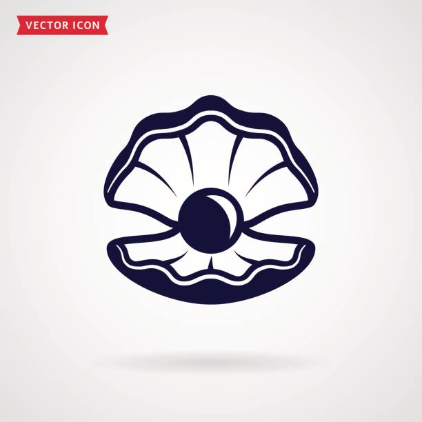 sea pearl in the shell. vector icon. - pearl jewelry stock illustrations, clip art, cartoons, & icons
